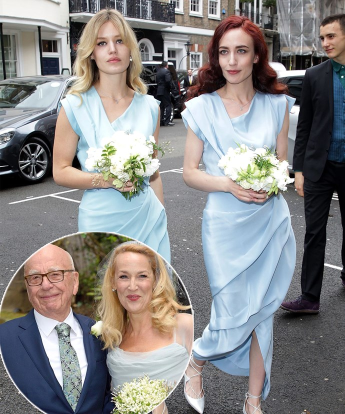 Jagger sisters Georgia May and Elizabeth were beautiful in blue as bridesmaids at mum Jerry Hall's wedding to Rupert Murdoch.