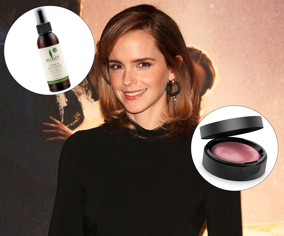 "During her press tour for *Beauty and the Beast*, Emma Watson opted for natural and cruelty-free beauty brands including [Sukin's Hydrating Mist Toner](https://www.farmers.co.nz/beauty/skincare/toners/sukin-hydrating-mist-toner-125ml-5070364003|target=""_blank""
