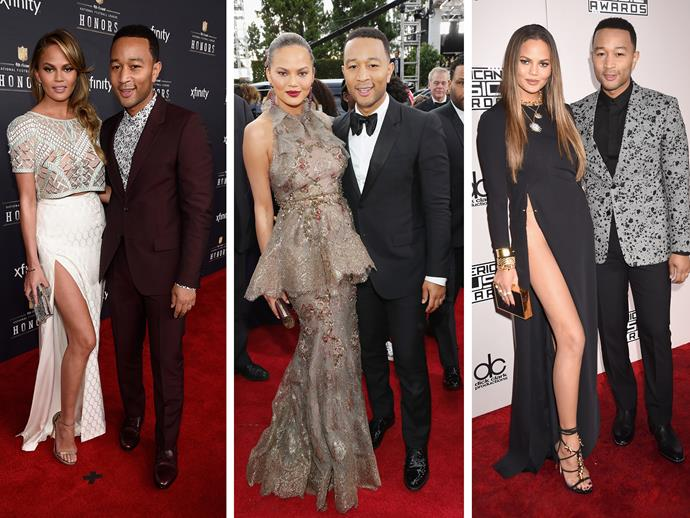 **Culprit:** Chrissy Teigen and John Legend. **Guilty of:** The straight-up lean. Sometimes you just gotta lean on your man, or from your man with your right leg out... as Chrissy would know. John's clearly a great support.