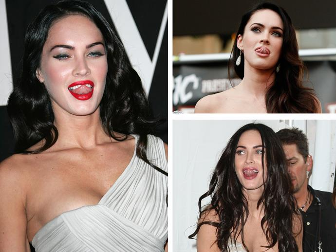 **Culprit:** Megan Fox. **Guilty of:** The tongue poke. It might be a nervous habit or perhaps she's just checking she doesn't have lippie on her teeth. Still, Megan manages to make this look good and we wish we could.