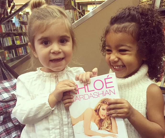 """I can't stop smiling when I look at this photo!"" posted the girls' auntie Khloe when they came out to support her book launch. ""I love my little ladies!! They were so excited and kept screaming 'KoKo!' 'KoKo!' North calls me 'KoKo Loco."""