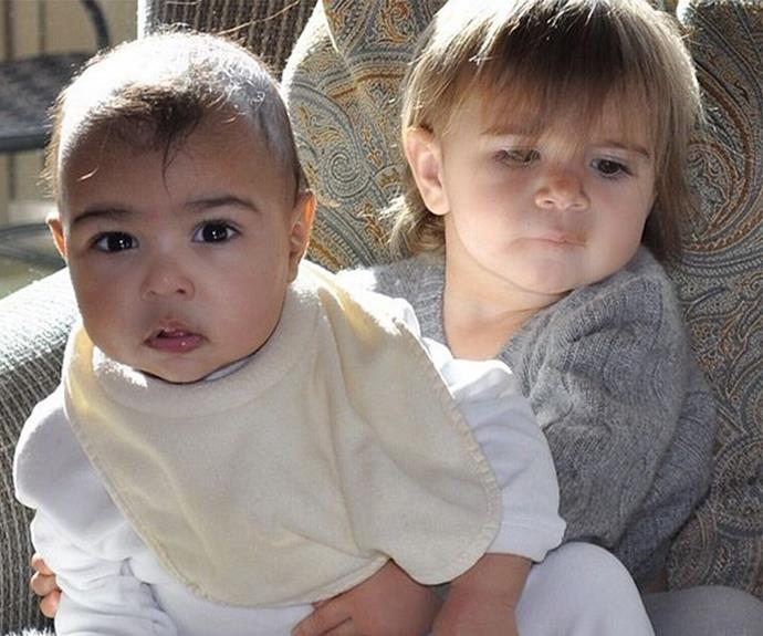 "Throwing it right back to when North was just seven months old, and Penelope was 18 months. ""BFFs,"" Kim shared on Instagram."