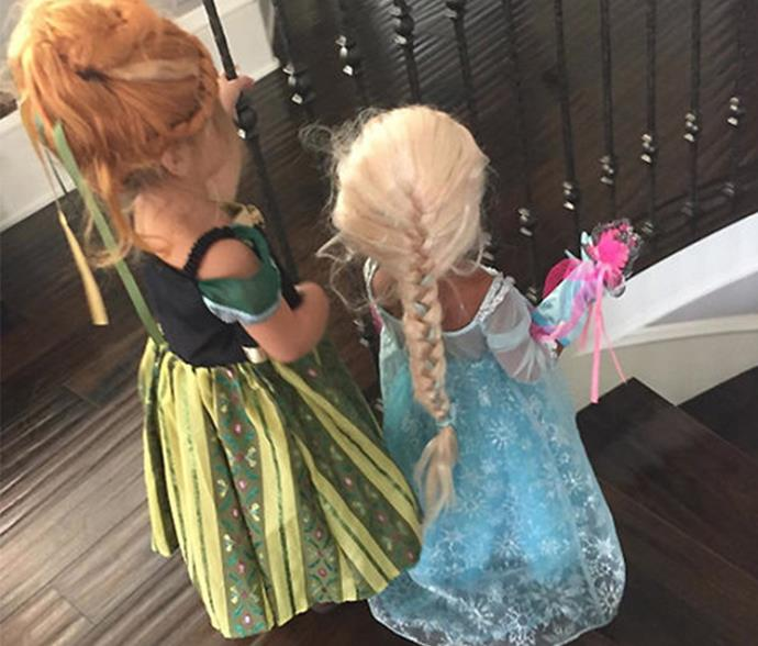 Naturally, Nori and P went as *Frozen*'s Princesses Anna and Elsa one Halloween. And totally nailed it, obvs.