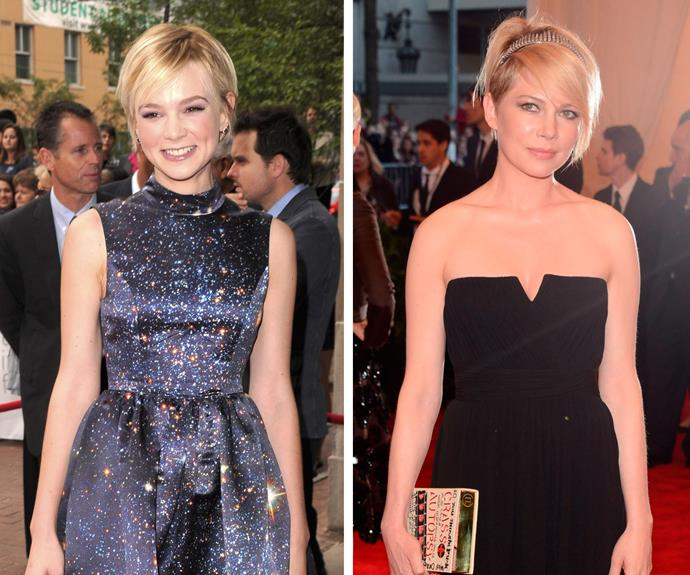 Carey Mulligan has dyed her hair brown since this picture, and it's a good thing too, since her and Michelle Williams looked very similar with their chic pixie cuts.