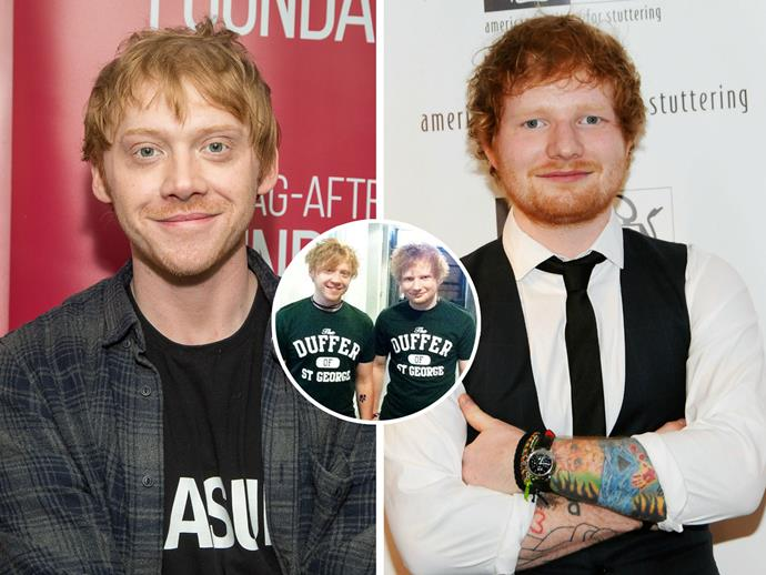 """While appearing on the *Late, Late, Show* earlier this week, *Harry Potter*'s Rupert Grint said he *still* gets mistaken for Ed Sheeran. """"It's kind of 50/50 now,"""" he told host James Corden. """"It's like [when] someone stops me, it could go either way. I could be Ed or I could be me."""" Even other celebrities get the pair confused. """"Leo Sayer [the singer], he came up to me and said he loved my music, of course thinking I was Ed,"""" Rupert recalled. """"And I play along."""""""