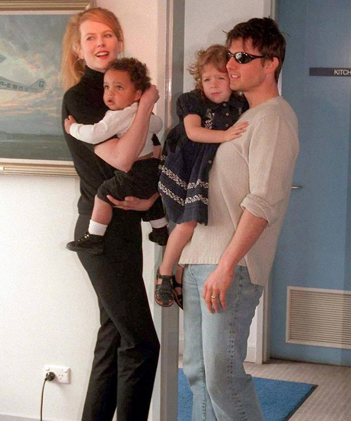 Nicole with her ex-husband Tom Cruise and their two adopted kids, Isabella and Connor.