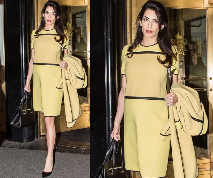 Amal channelled Jackie O when she visited the UN in New York on March 9, wearing a daffodil yellow Bottega Veneta coat and matching shift dress.