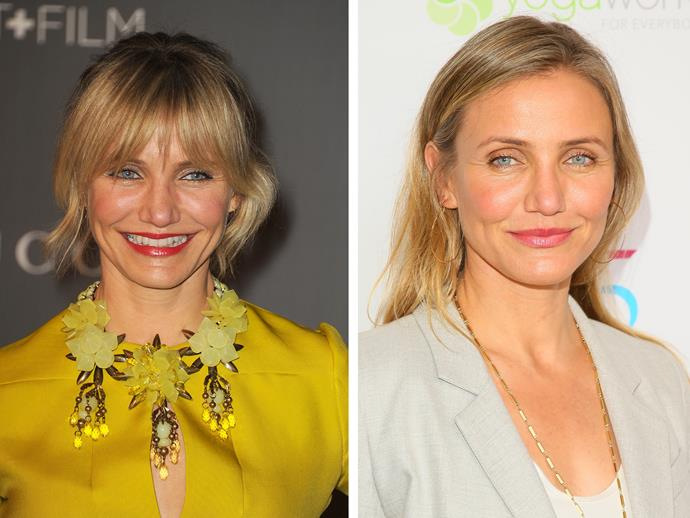 It was only for a brief moment in time, and if you blink you would have missed it, but Cameron Diaz has quite the chunky fringe in 2012 and we reckon it's about due for a comeback.