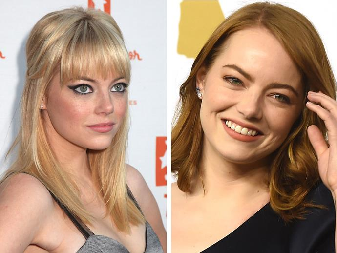 Ahhhh Emma Stone, is there any look you *can't* pull off? Without a fringe your piercing green eyes pop and with one they do too. Emma just has one of those faces that can make different styles and hair colours work.