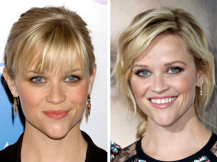 With her heart-shaped face (which can be a little top-heavy), Reese Witherspoon knows she suits *some* sort of fringe - whether that's front or side.