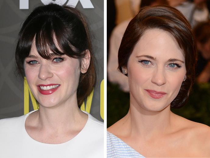 Um excuse us? Who is this impostor?! Without her signature fringe Zooey Deschanel looks like a completely different person.