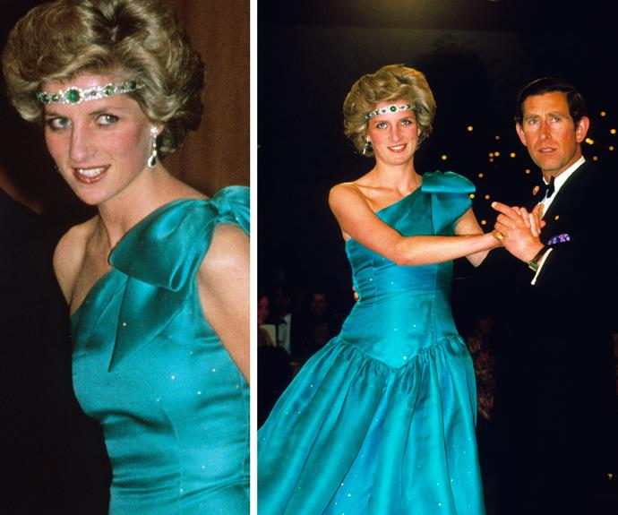 When Diana came to Australia she donned the stunning choker as a tiara in 1985.