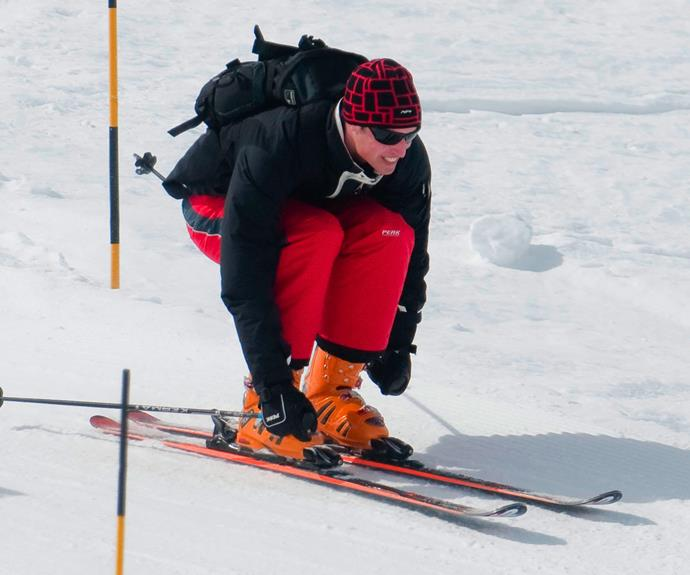 Skipping the Commonwealth celebrations, Wills took to the slopes.