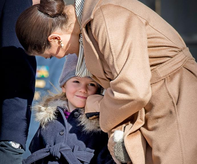"The 39-year-old takes a moment from ""Victoria Day"" to share a nuzzle with her little princess."