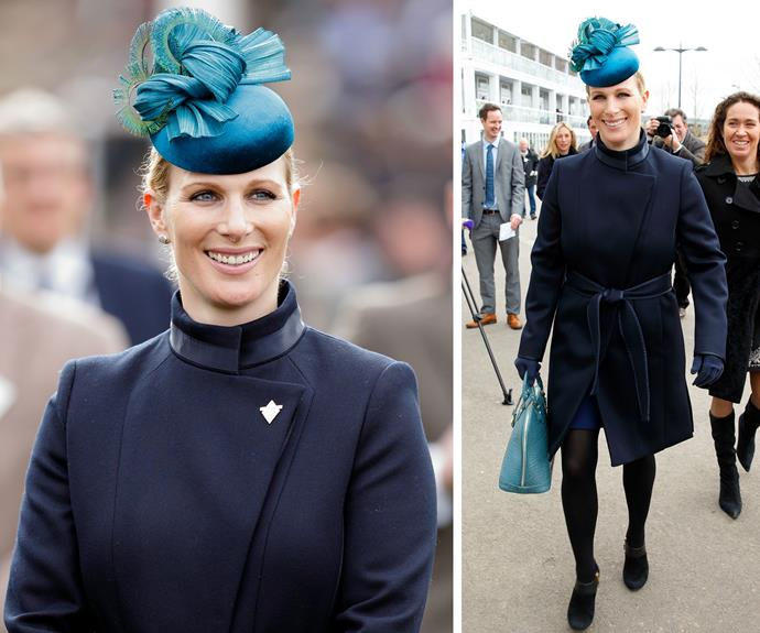 [Zara Tindall](http://www.nowtolove.com.au/royals/british-royal-family/why-zara-and-mike-tindalls-girl-mia-is-the-best-royal-33006) arrives at the 2017 Cheltenham Festival to enjoy a day at the horse races.