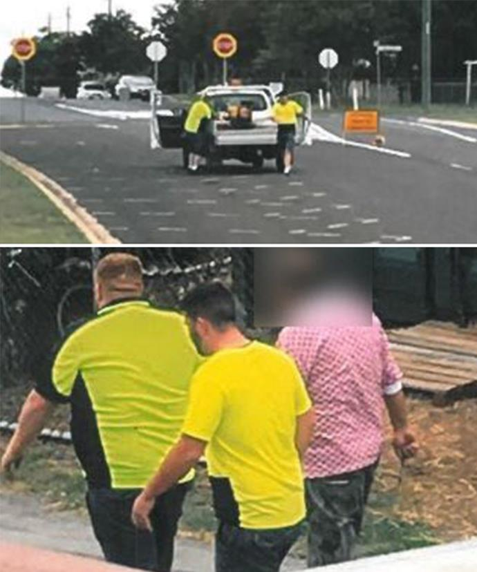 The men are believed to be driving a white Mitsubishi Triton with Victorian registration 1FH 5ZV.