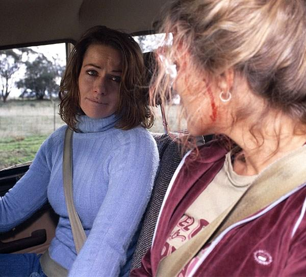 **Claire (Lisa Chappell) in *McLeod's Daughters* (2003)** She was the main character, she'd just had a baby, and lover Alex (Aaron Jeffery) had finally bought a ring. There she was, trapped in a ute, dangling over a cliff, telling her sister Tess (Bridie Carter) to save the baby. Then came the plunge. Devastating.