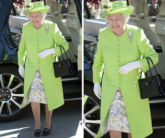 The Queen attends a service of [remembrance](http://www.nowtolove.com.au/royals/british-royal-family/the-golden-royal-trio-attend-a-war-memorial-unveiling-35809) for the D-Day 70 Commemorations in 2014 in Bayeux, France wearing this delightful ensemble.