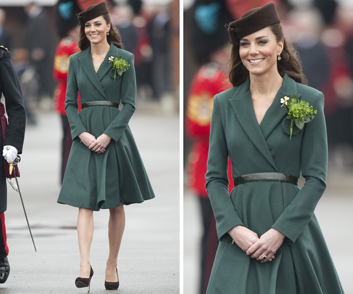 In 2012, at Catherine's first St Patrick's Day parade, the Duchess wore a forest green coat and an Irish Guards brooch that belonged to the Queen Mother.