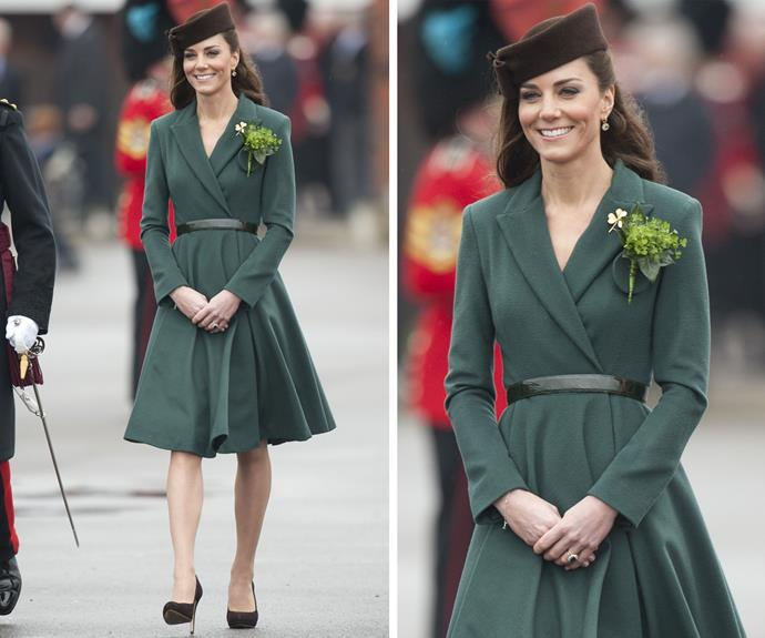 Like no time has passed at all, let's rewind back to 2012  - Catherine's first St Patrick's Day parade. The Duchess wore a forest green coat and the gorgeous Irish Guards brooch.