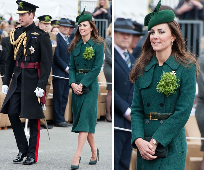 In 2014, Duchess Catherine looked radiant in a coat from Hobbs and a fresh bunch of Irish shamrock.