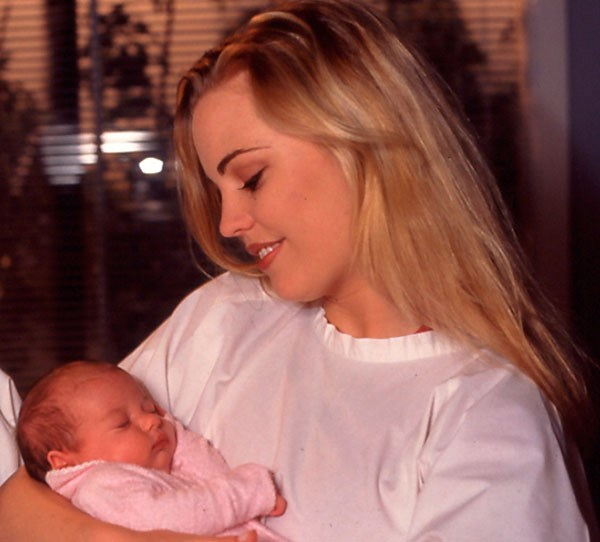 **Angel – Melissa George 1996**  Struggling to cope with her hubby Shane's (Dieter Brummer) death, Angel went into labour eight weeks early. It was during a deluge and access to the hospital was cut off. A mystery biker, possibly the spirit of Shane, guided Angel to safety where she gave birth.