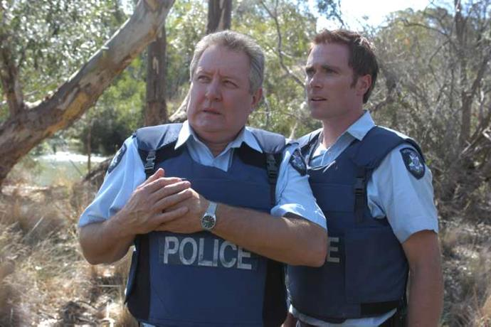 *Ditch in* Blue Heelers *with co-star John Wood.*