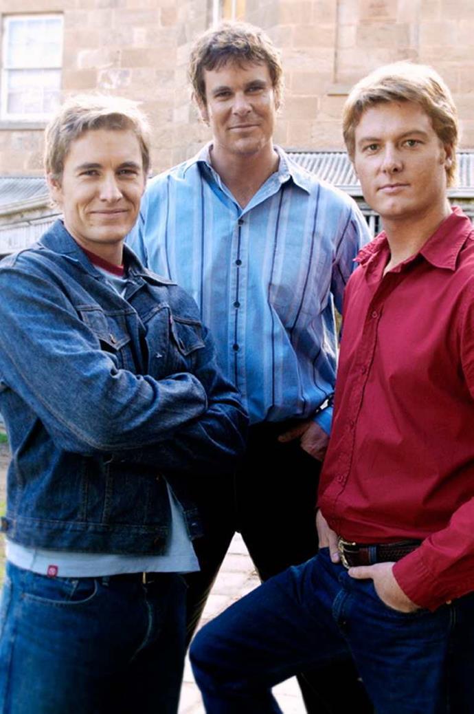*Brett with* McLeod's *co-stars Aaron Jeffery (middle) and Myles Pollard.*
