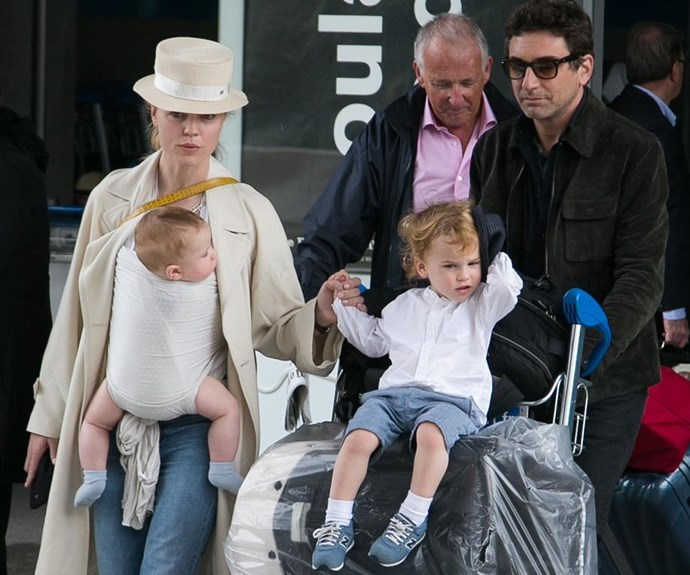 The former couple with their two boys.