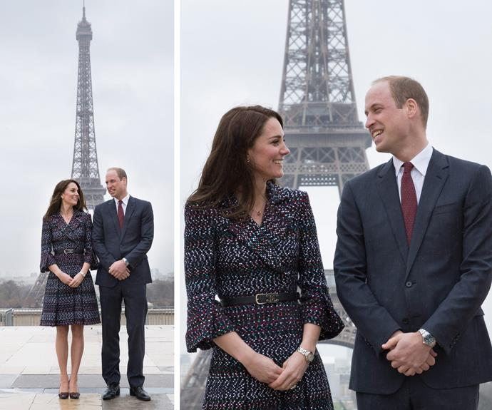 **March:** While in Paris on their first royal tour of the French capital, the Duchess stunned in a Chanel jacket and matching skirt.