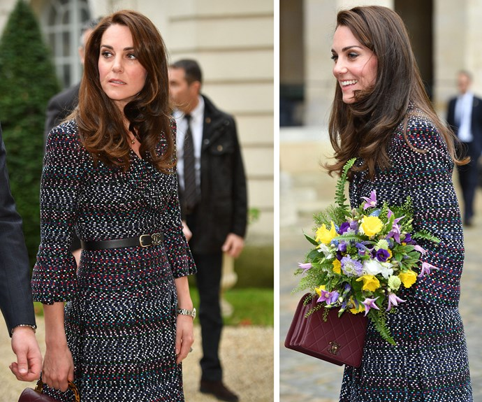 C'est chic: The Duchess wowed in a full Chanel ensemble... Including the world's sweetest little bag.