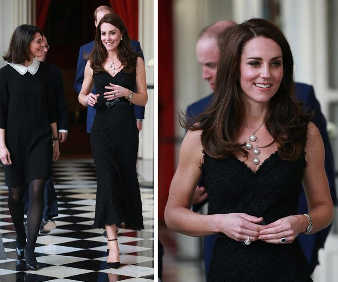 **March 20:** While in Paris, Duchess Catherine wore a black Alexander McQueen shift dress, in a luxurious, textured material. She accessorised the simple dress with a statement pearl necklace and matching ring.