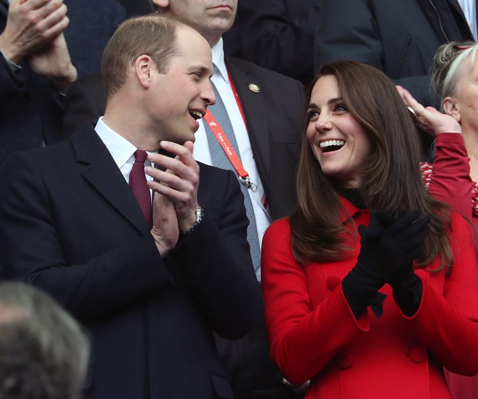 **March 18:** While watching a tight game of rugby between Wales and France, the Duchess wore a bright red Carolina Herrera coat, which she also wore on her trip to Canada in 2016 (love a star who recycles clothes).