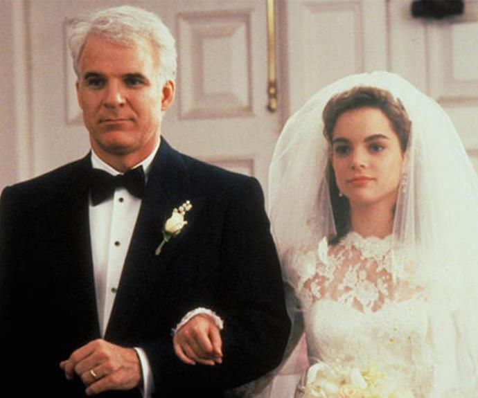 Steve Martin and Kimberly Williams-Paisley captured our hearts in the 1991 film *Father of the Bride* and the 1995 sequel, *Father of the Bride Part II*.