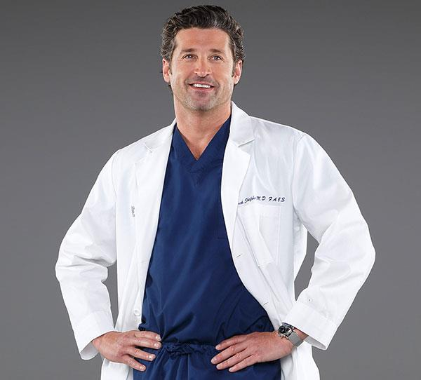 **Derek Shepherd (Patrick Dempsey)**  Meredith tragically lost her husband Derek when he was hit by a truck in a road accident. Derek was rushed to a small hospital but unfortunately didn't receive the life-saving treatment he needed.  Meredith (Ellen Pompeo) then had to make the terrible decision to turn off his life-support machine.