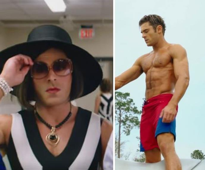 Zac Efron goes from buff to beautiful in this hilarious scene in his upcoming film *Baywatch*. Zac goes undercover by dressing up like a woman in a wide-brimmed hat, brunette wig, dress, sunglasses and even lipstick. Have to say, he looks amazing.