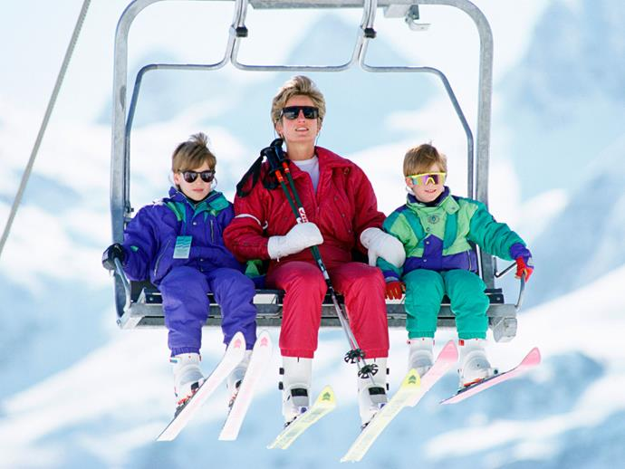 Does it get any more '80s-retro than this cute snap of William, Diana and Harry on a family trip to Austria?