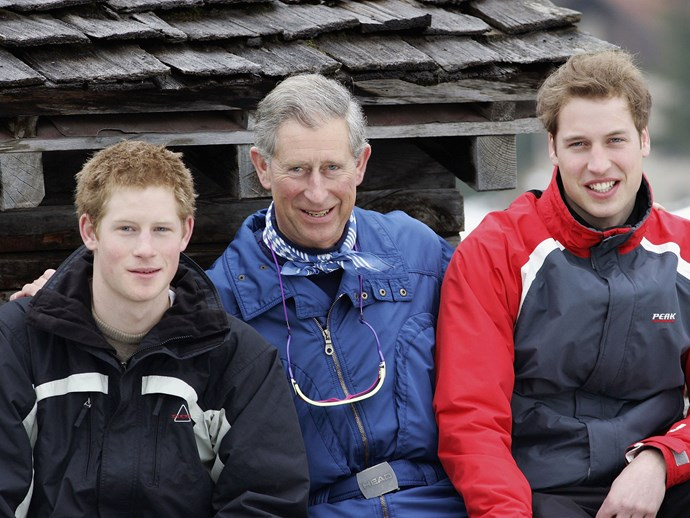 Harry, Charles and William adorably continued the tradition after Diana's death, pictured here in Switzerland in 2005.