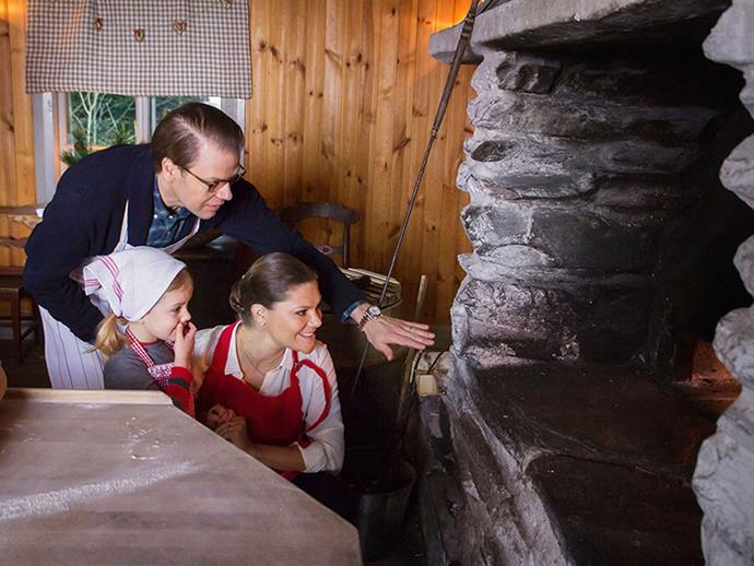 In case you were wondering, the Swedish royal family's holidays are just as adorable. Here, Prince Daniel and Crown Princess Victoria bake with their daughter, Princess Estelle, in a cottage in the countryside.