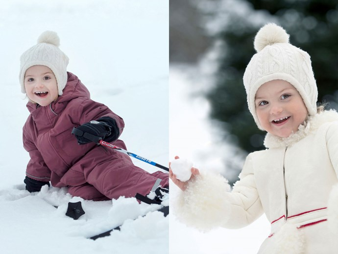 And here's Estelle on her 3rd birthday, having as joyful a time at the snow as anyone will ever have.