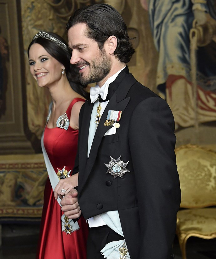 A glowing and pregnant Sofia was joined by her husband and other royal family members for a dinner at the Palace in Stockholm.