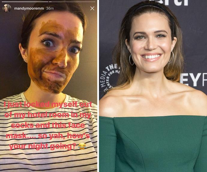 """Mandy Moore might have her glam squad with her on the red carpet, but isn't afraid of a little DIY skincare. She shared this hilarious photo on Snapchat, basically of her living out our worst nightmare. For anyone who's ever dared to step out of the house with a face mask on, you'll no doubt relate. """"I just locked myself out of my hotel room in my socks and this face mask...so yah, how's your night going?"""""""