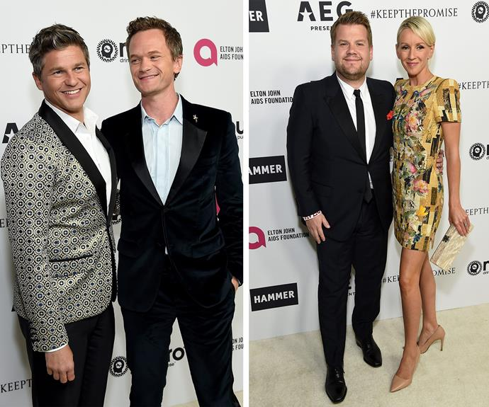 Date night for couples Neil Patrick Harris and hubby David Burtka and James Corden with his Mrs Julia Carey.
