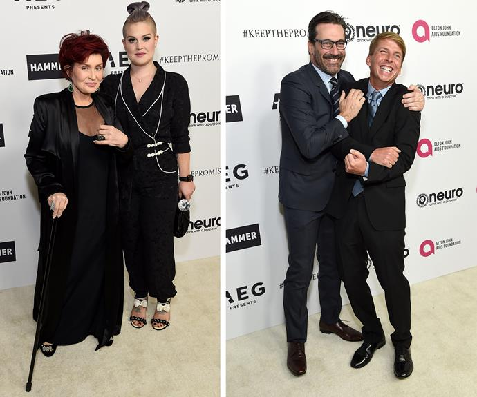 Sharon and Kelly Osbourne plus actors Jon Hamm and Jack McBraye had a blast.
