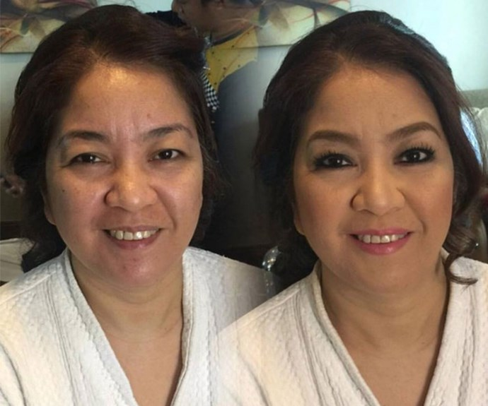 How many years can one [makeover](http://www.nowtolove.com.au/beauty/makeup/celebrity-beauty-secrets-2017-36091) take off? For this mother of the bride, there's no limit. *Source: Facebook*
