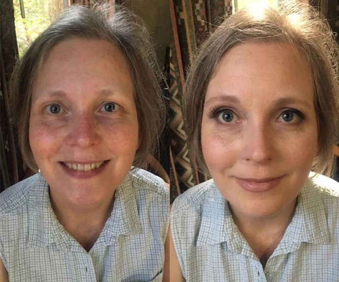 What a difference [lashes](http://www.nowtolove.com.au/beauty/makeup/makeup-tricks-to-look-younger-35909) make. We think she could easily pass for being 10 years younger. *Source: Instagram*