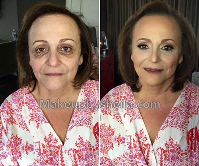 "She'd been up for 48 hours after an unexpected emergency, had been crying, and had a knot in her upper back. But after she saw the work from her [makeup](http://www.nowtolove.com.au/beauty/makeup/multi-purpose-make-up-skincare-products-35778) artist, she said it was ""like a miracle."" *Source: Facebook*"