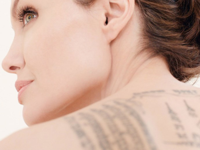 "Angelina's tattoos are prominently featured in the campaign. ""The tattoos being shown was not a plan, but I was pleased they didn't try to hide them, or turn me into someone I am not."""
