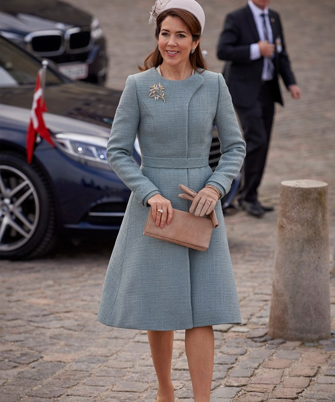 The Aussie-born Princess looked very sophisticated in an all-blue ensemble.