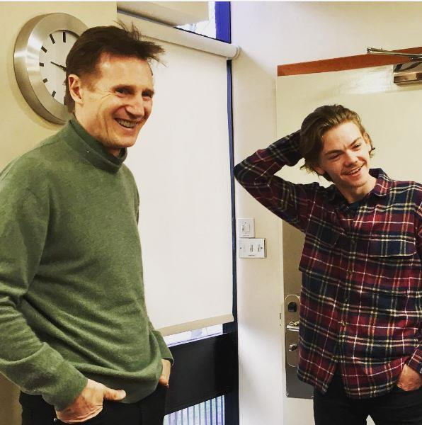 Liam Neeson and his grown up co-star Tom Sangster. Credit: Emma Freud